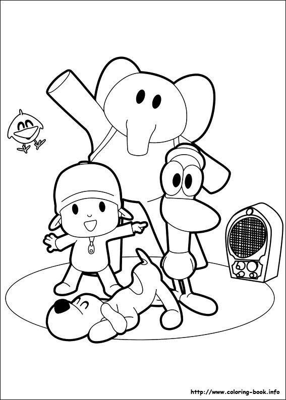 2nd birthday coloring drawings online drawings colors diy - Pocoyo Friends Coloring Pages