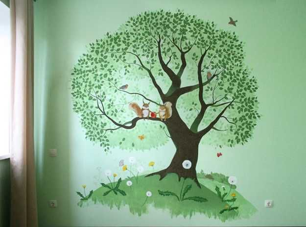 Green Wall Painting With Tree Painted Walls Tree Wall