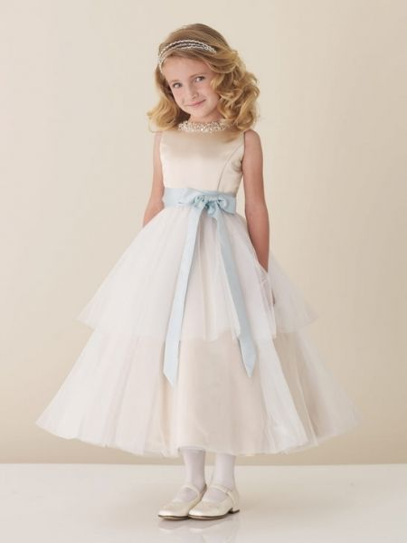 6d67177712b Elaborate Crystal Beading Sleeveless Satin And Tulle Jewel Neck Flower Girl  Dress JC110305
