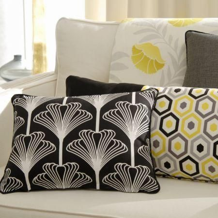 Clarke and clarke nouveau fabric collection black white and yellow modern patterned cushions