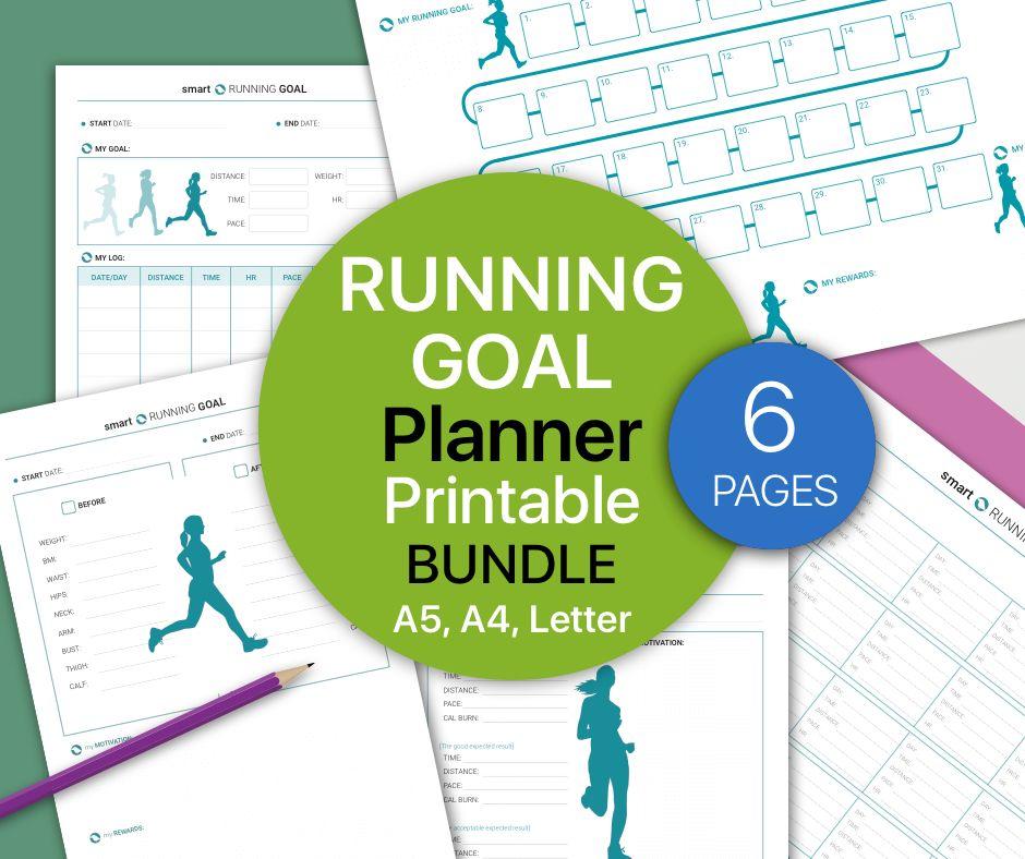 RUNNING Log, Fitness Goal Planner, Health and Fitness Printable ...