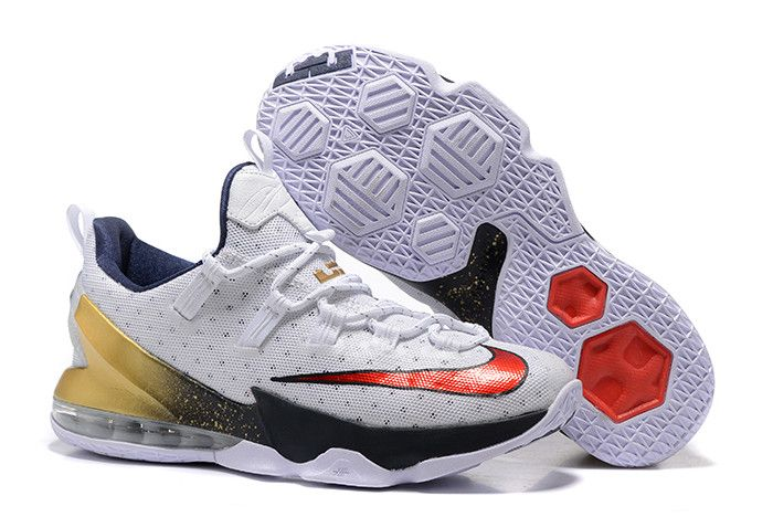 "399724ccdacd7 Nike LeBron 13 Low ""Olympic"" White University Red-Obsidian-Metallic Gold  831926-164"