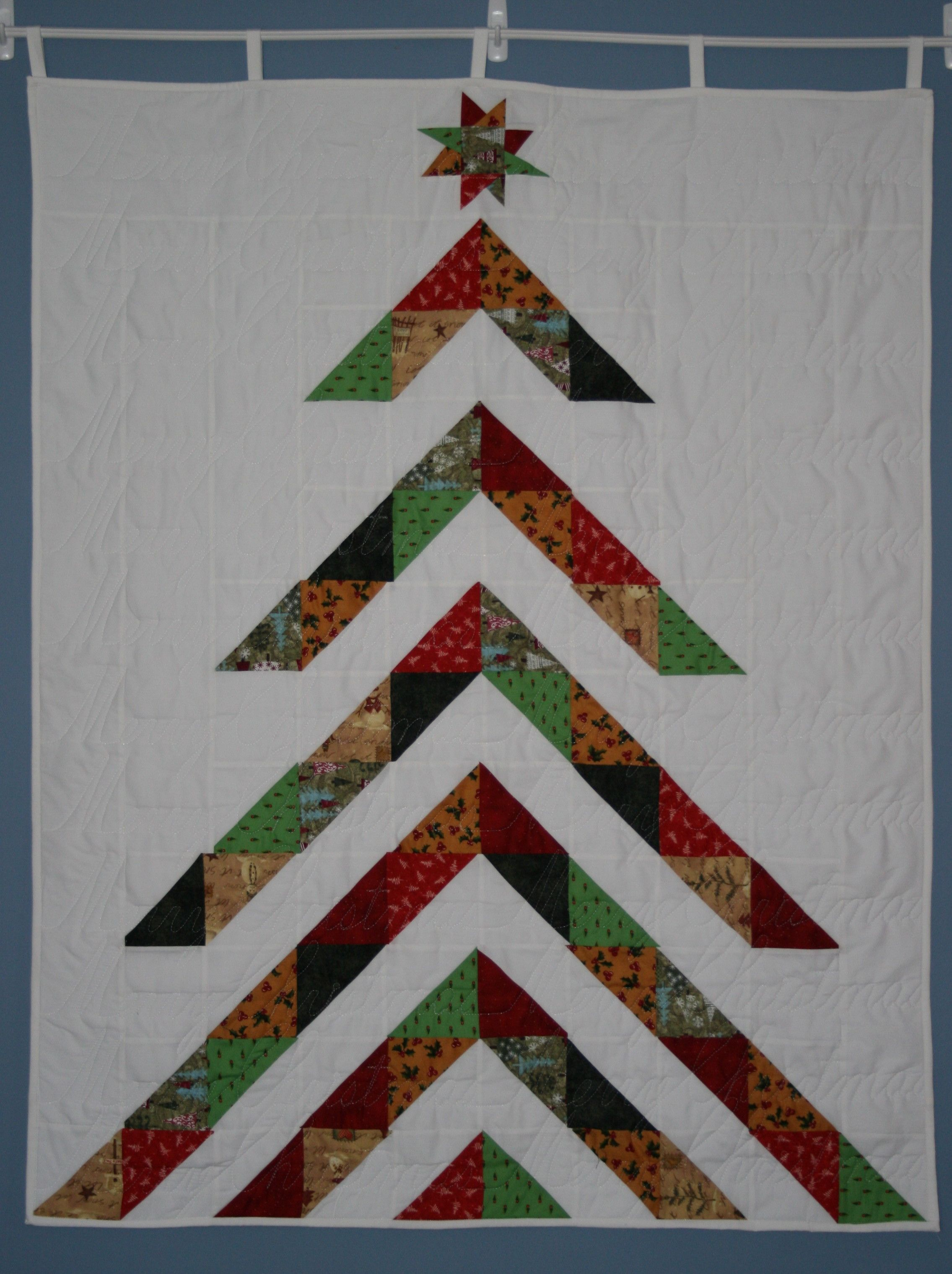 My Moda Pattern Christmas Tree Wall Hanging Quilted With Merry Christmas Across The Quilted Wall Hangings Hanging Quilts Christmas Tree Quilted Wall Hanging