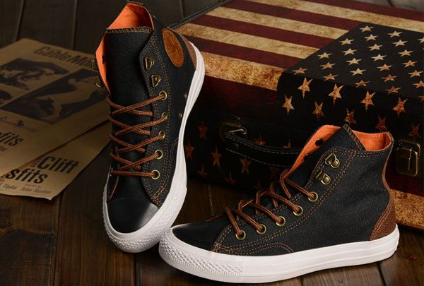 f01cbd47c909 Newest Vampire Diaries Season with Converse Chuck Taylor All Star High Tops  Black Brown Orange Denim Sneakers  S14032001  -  58.00   Discount Converse  All ...