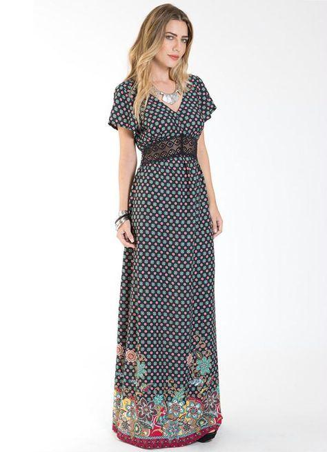Elenita Vestido em malha preto com detalhes laranja | Moda