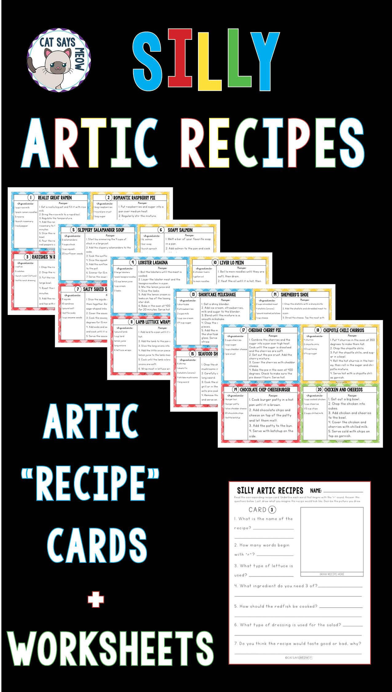 Silly Artic Recipes Cards Comprehension Artic Worksheets