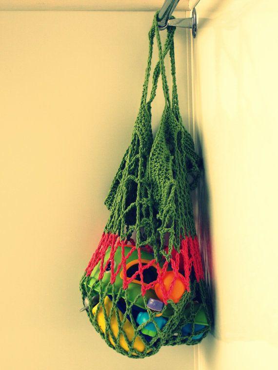 Bath Toy Bag in 100 Cotton by crochetbirdienz on Etsy, $30.00