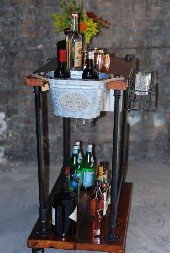 Industrial Bar Cart/Utility Cart | Madera de granero reciclada ...