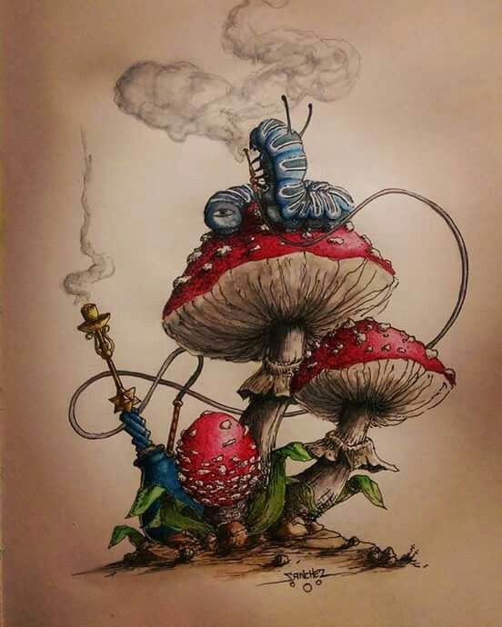 Alice in wonderland - mushroom #spacedrawings