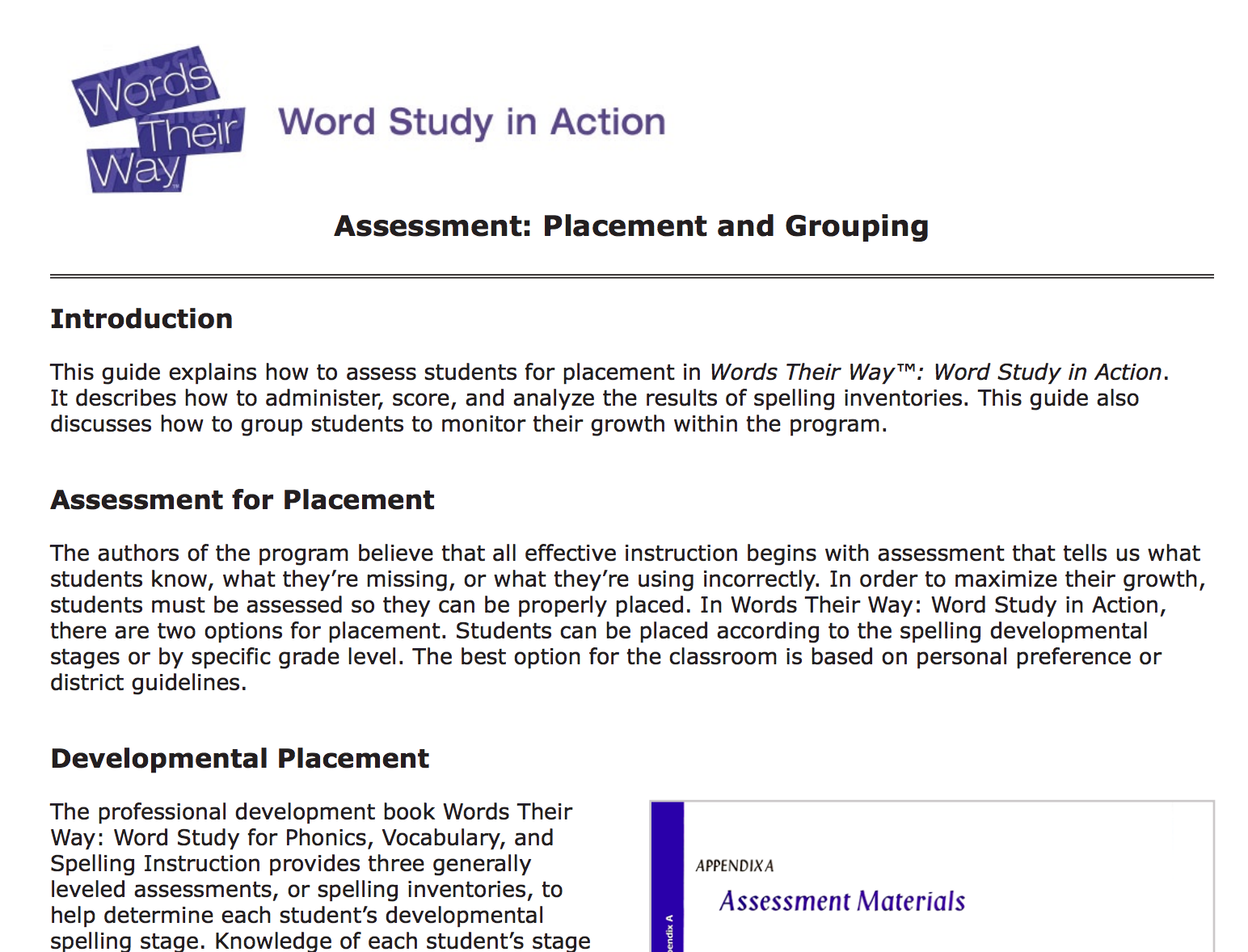 ASSESSMENT  The Words Their Way Spelling Assessment Is A Formal Assessment  To Help Educators Understand What Word Families Students Have Mastered.