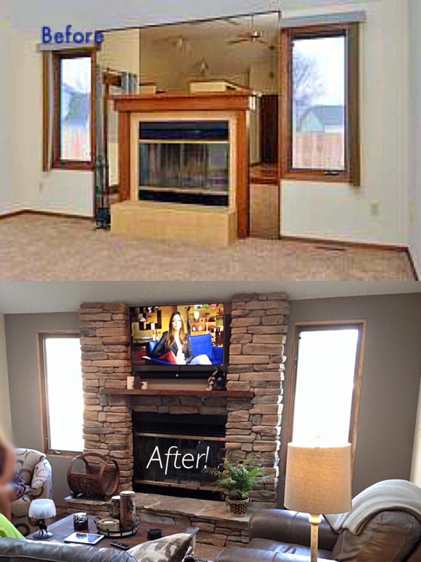 before and after fireplace makeover after about a year on new garage organization ideas on a budget a little imagination id=33546