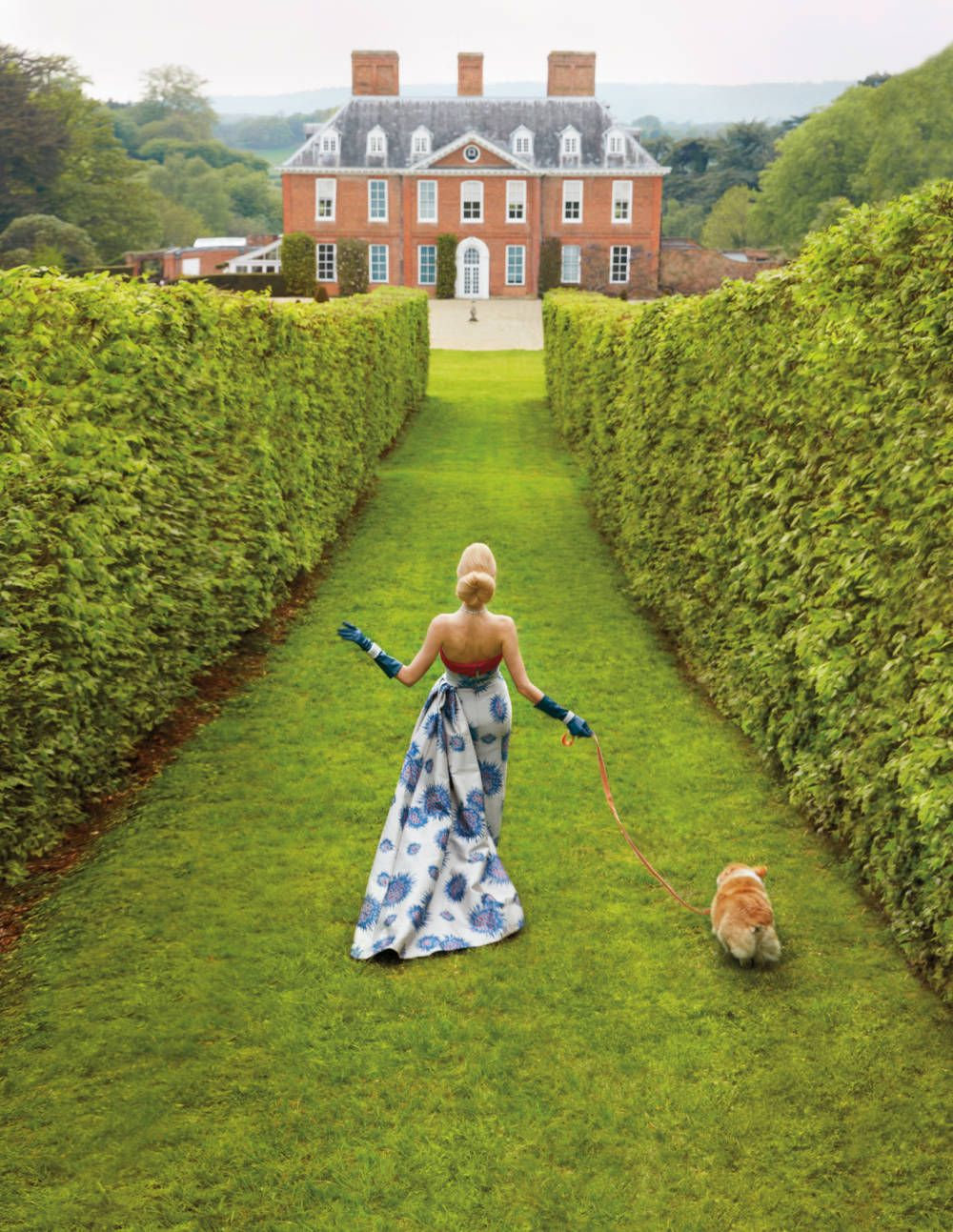 Carolina Herrera Gown at Squerryes Court in Kent, England.