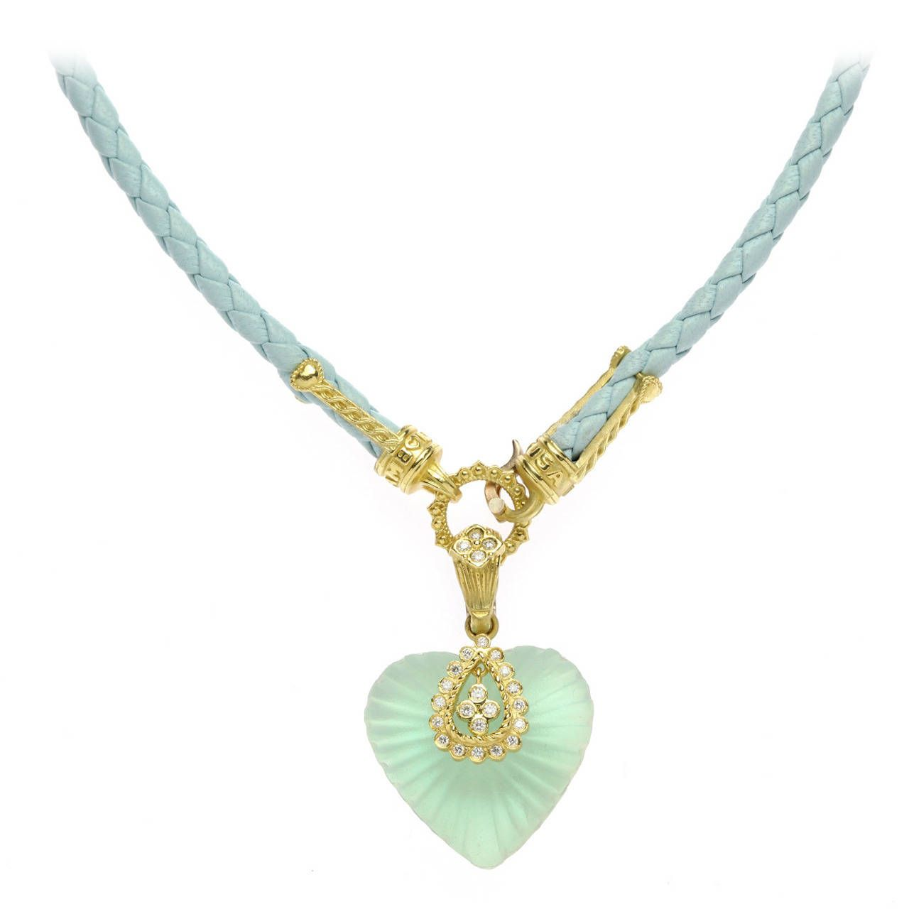 Stambolian Frosted Quartz Gold Pendant Blue Leather Necklace | From a unique collection of vintage necklace enhancers at https://www.1stdibs.com/jewelry/necklaces/necklace-enhancers/