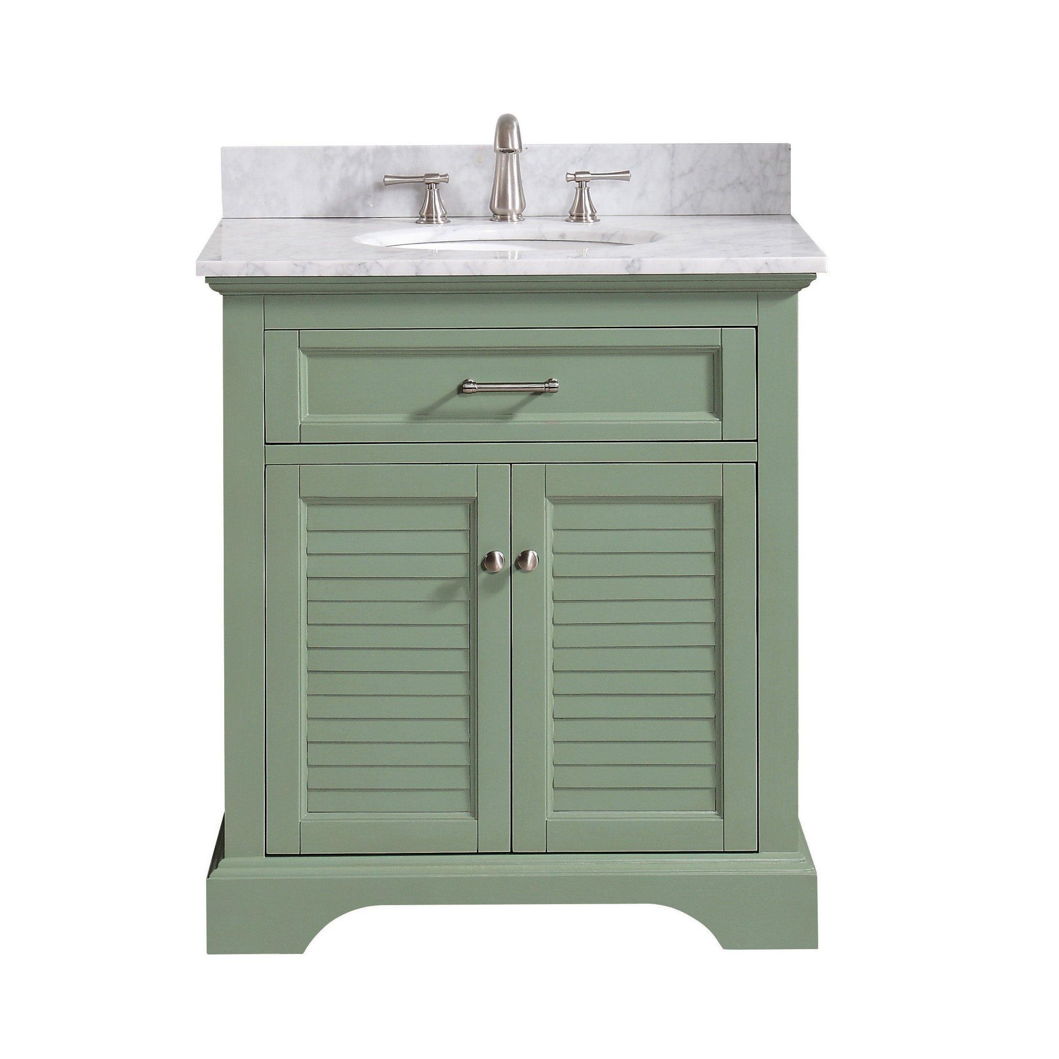 Avanity Colton 31 In Vanity Combo In Basil Green With Carrara