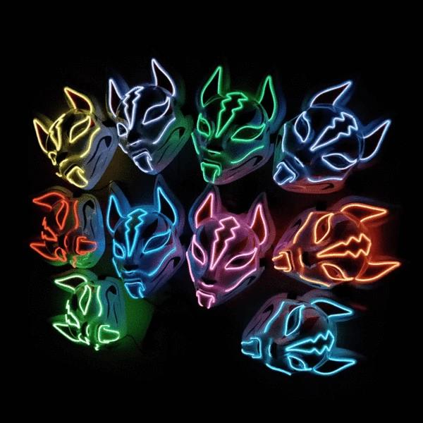 Fox Full Face Neon Mask Light Led Mask Neon, Led