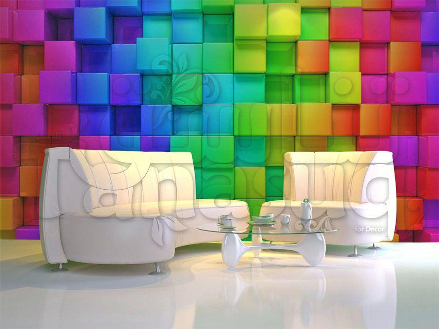 خلفية جدران مكعبات ثري دي ملونة لغرف النوم والمعيشة Home Room Design Printed Shower Curtain Room Design