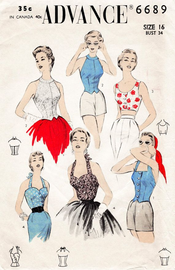 d3e58905830 1950s 50s Advance 6689 vintage sewing pattern reproduction 4 styles  cocktail bustier fitted sweetheart neckline crop top halter Bust 34 B34  repro