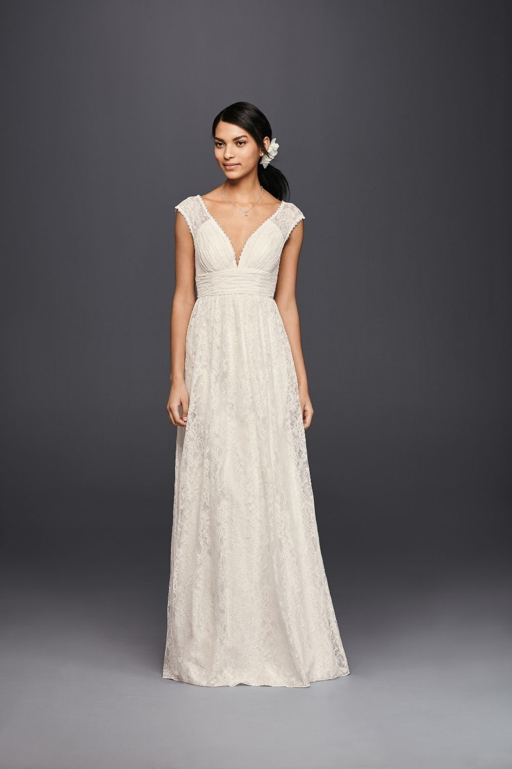 Lace Sheath Wedding Dress With Illusion Cap Sleeve By Galina Available At Davids Bridal