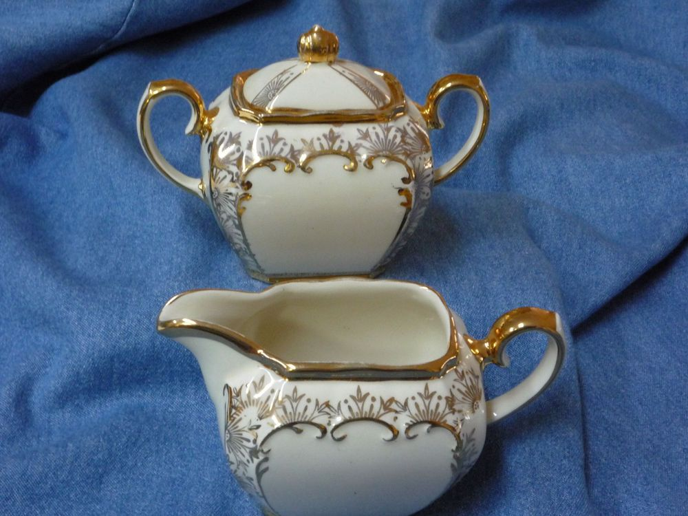 Very nice condition creamer and sugar bowl from Sadler. Manufactured in England and has hand written model #2085 on bottom. No cracks or chips and gold trim is very good condition. | eBay!