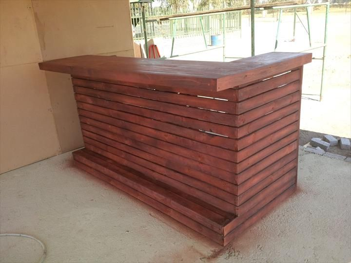 Recycled wooden pallet bar wooden pallets pallets and bar for Wooden bar design