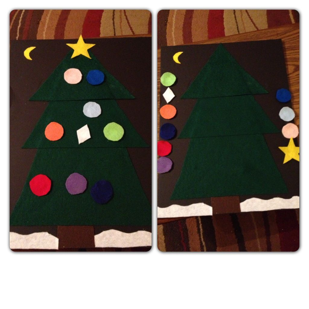 "My version of the ""felt Christmas tree"" for Bella to decorate and redecorate!  From a Pinterest pin of course!!!!!"