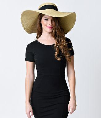 Tan & Black Braided & Banded Sun Hat #hat #womens