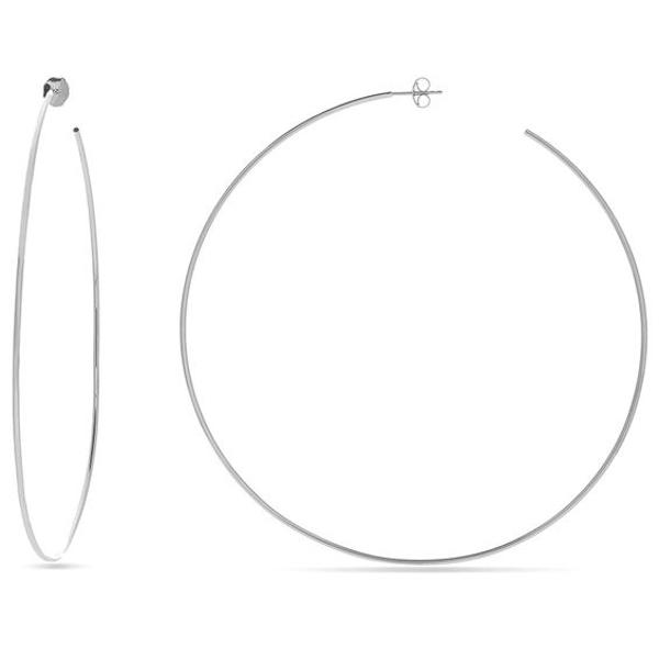 105.0mm Thin Hoop Earrings in 14K White