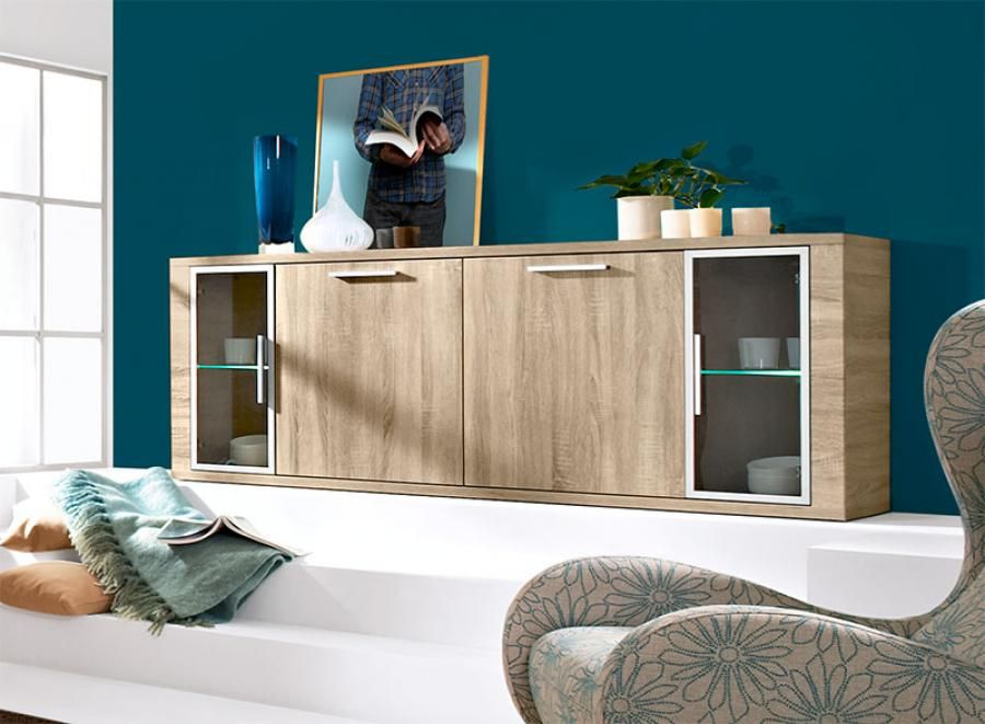 Arte M Cool Contemporary 4 Door Sideboard In Matt White And Oak   Arte M