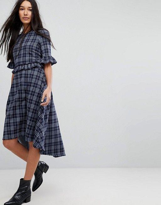 Vero Moda Tall Check Frill Skater Dress in 2018  642e9681b