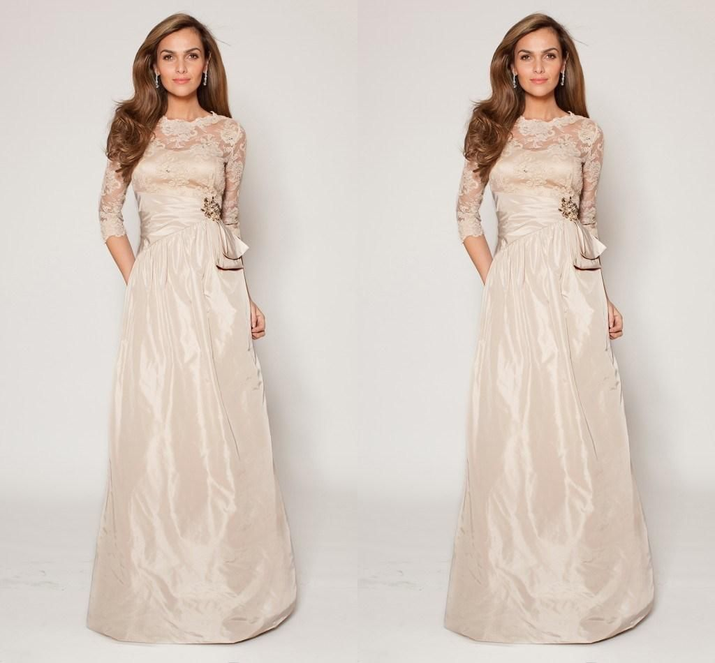 Wholesale Mother's Dresses - Buy Applique Lace Top Evening Dresses Long Sleeve Beach Elegant Prom Gowns Gowns Beads Crystal Bow Sash Party Gowns Taffeta Skirt A Line Gowns, $121.58   DHgate.com