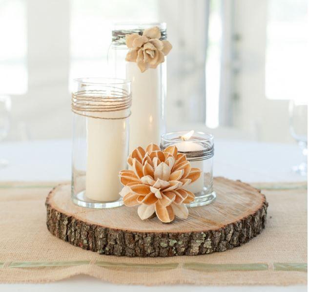 Rustic Kitchen Table Centerpiece Ideas: Rustic Natural Centerpiece