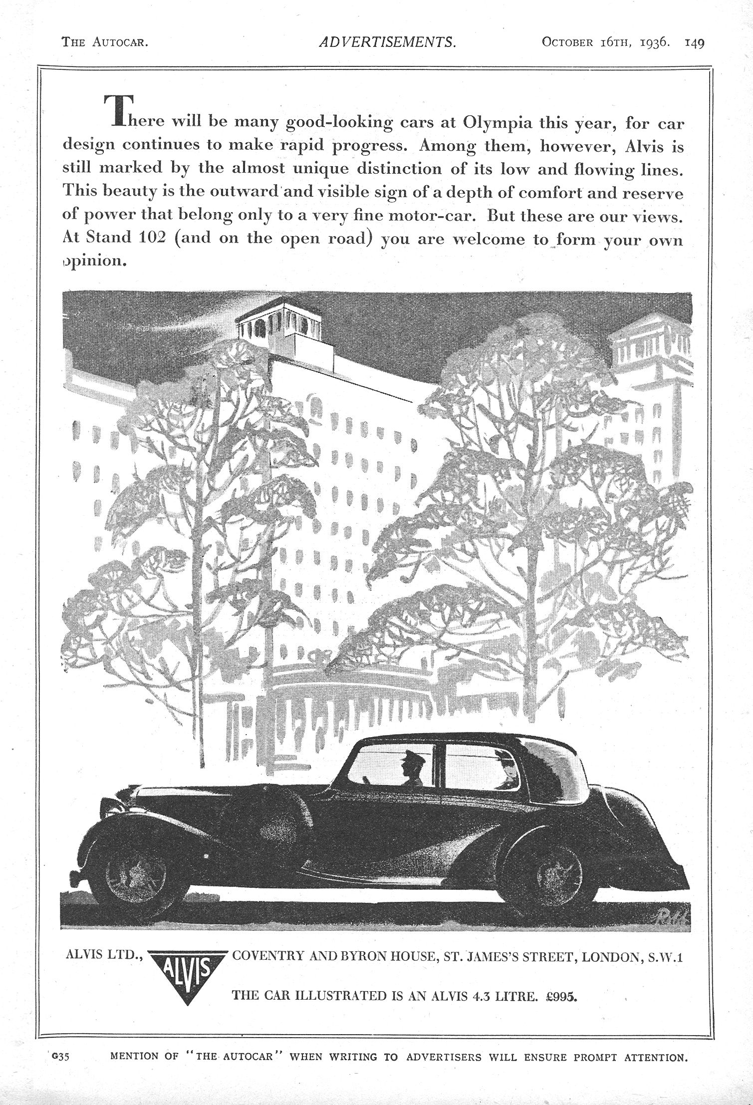 Alvis Car Autocar Advert 1936 - Alvis 4.3 Litre