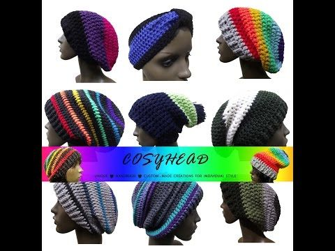 Crochet Hat Hats Hippy Festival Beanie Ski Rasta Tam Skater Colours Chakra Rainbow Dreadlocks Crocheting Etsy Summer Winter Craft Yarn Wool Arts and Crafts