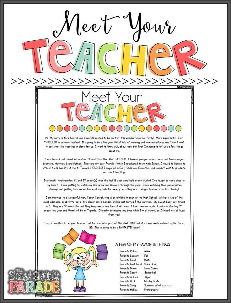 Meet the Teacher Tips & Ideas Letter to teacher, Meet