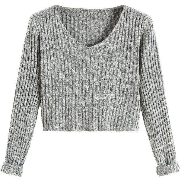 429ccd54ee SheIn Women s V Neck Long Sleeve Crop Sweater ( 18) ❤ liked on Polyvore  featuring tops