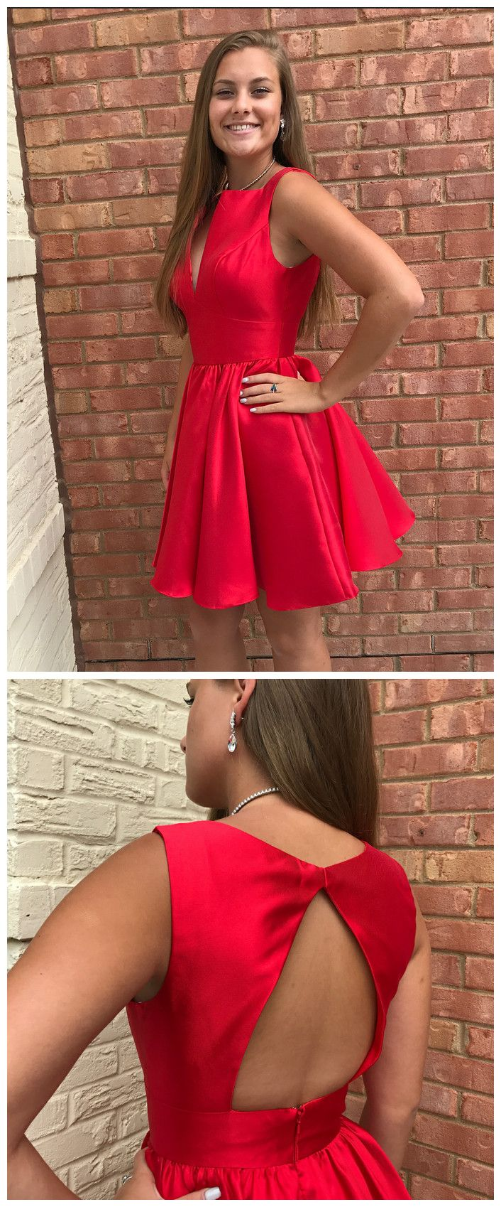 Simple red satin v neck short party short homecoming dress