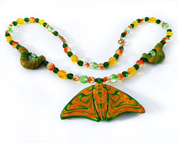 Polymer Clay Butterfly and Caterpillars Orange by CicadaArtJewelry