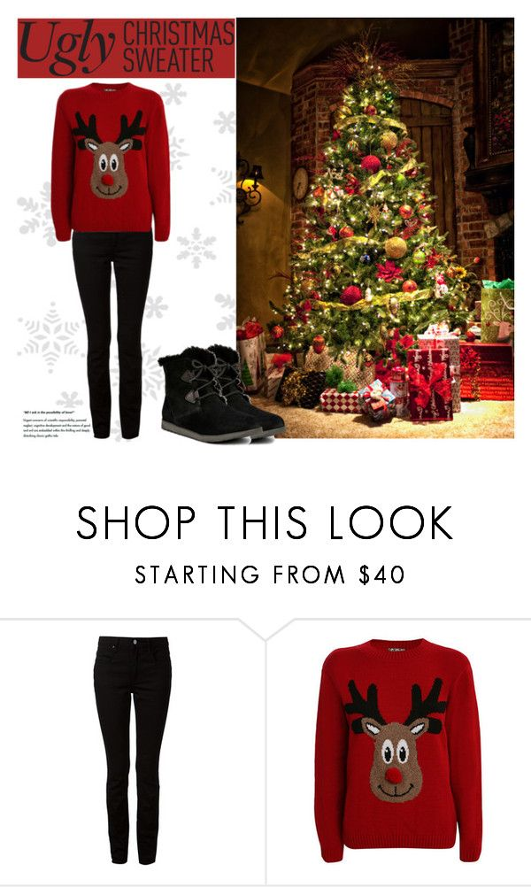 """My 2015 Ugly Christmas Sweater!"" by katsin90 ❤ liked on Polyvore featuring Alexander Wang, Pilot, Emu and uglychristmassweater"