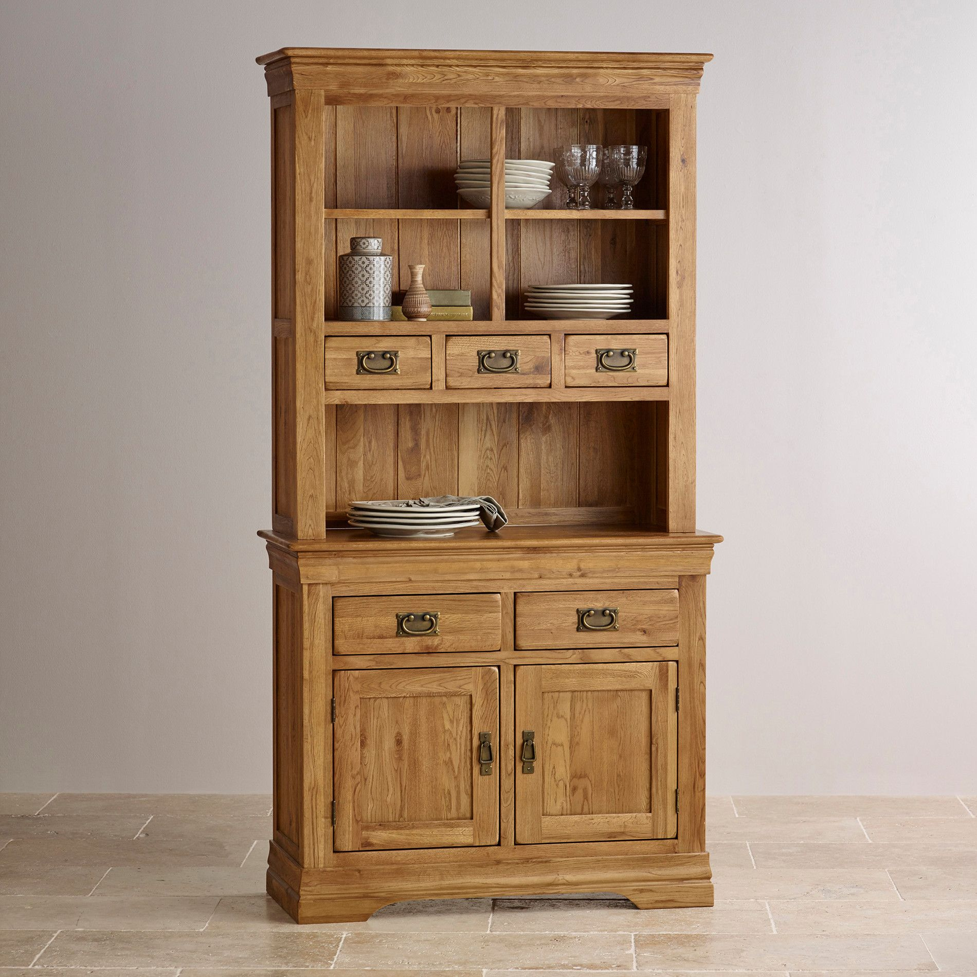 French Farmhouse Rustic Solid Oak Small Dresser | Oak dresser, Oak ...