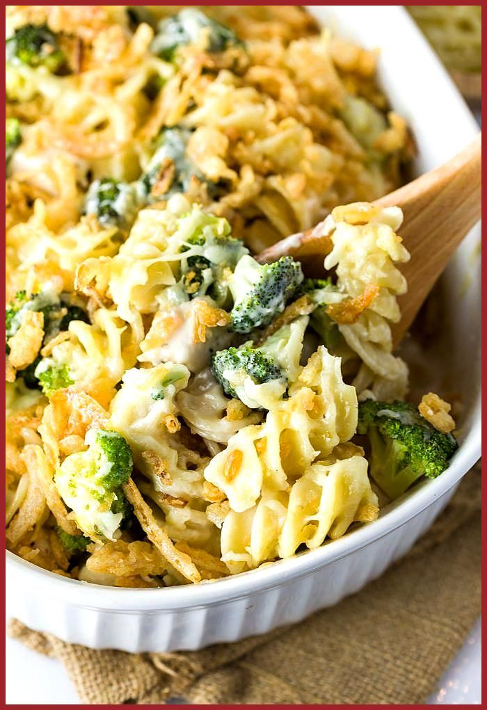 This cheesy chicken noodle casserole is made with a creamy mushroom sauce chicken cheese and brocco