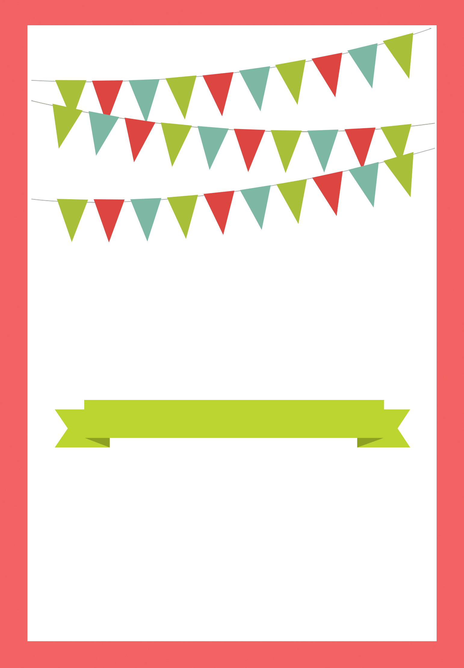 Red Pennants Free Printable Bbq Party Invitation Template