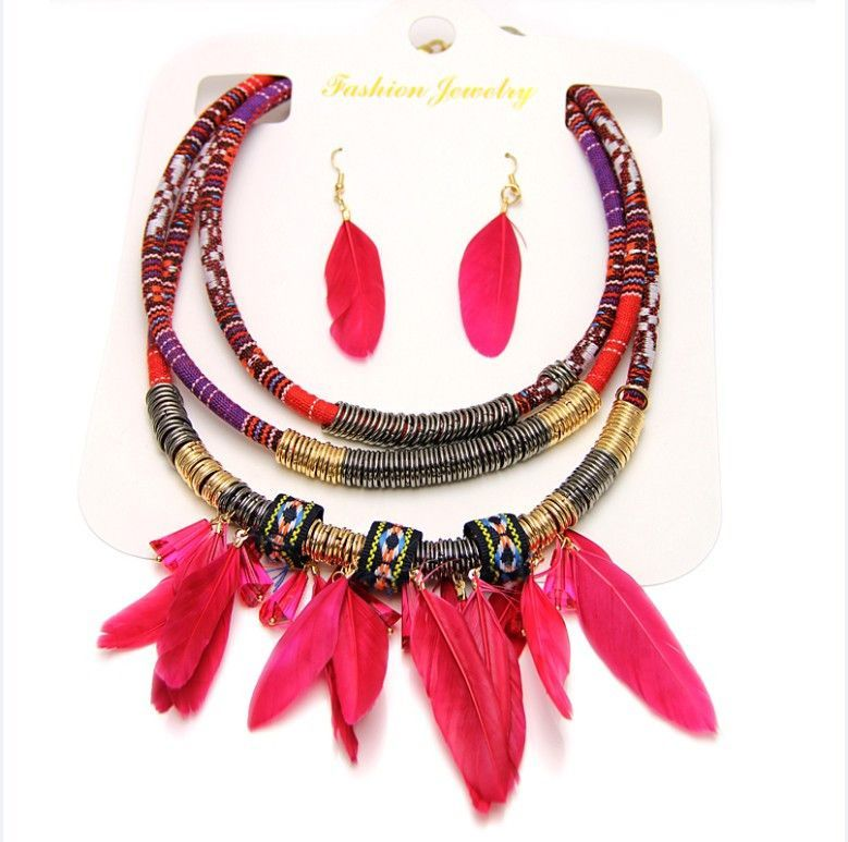 Bohemian Women Feather Necklace With Earrings