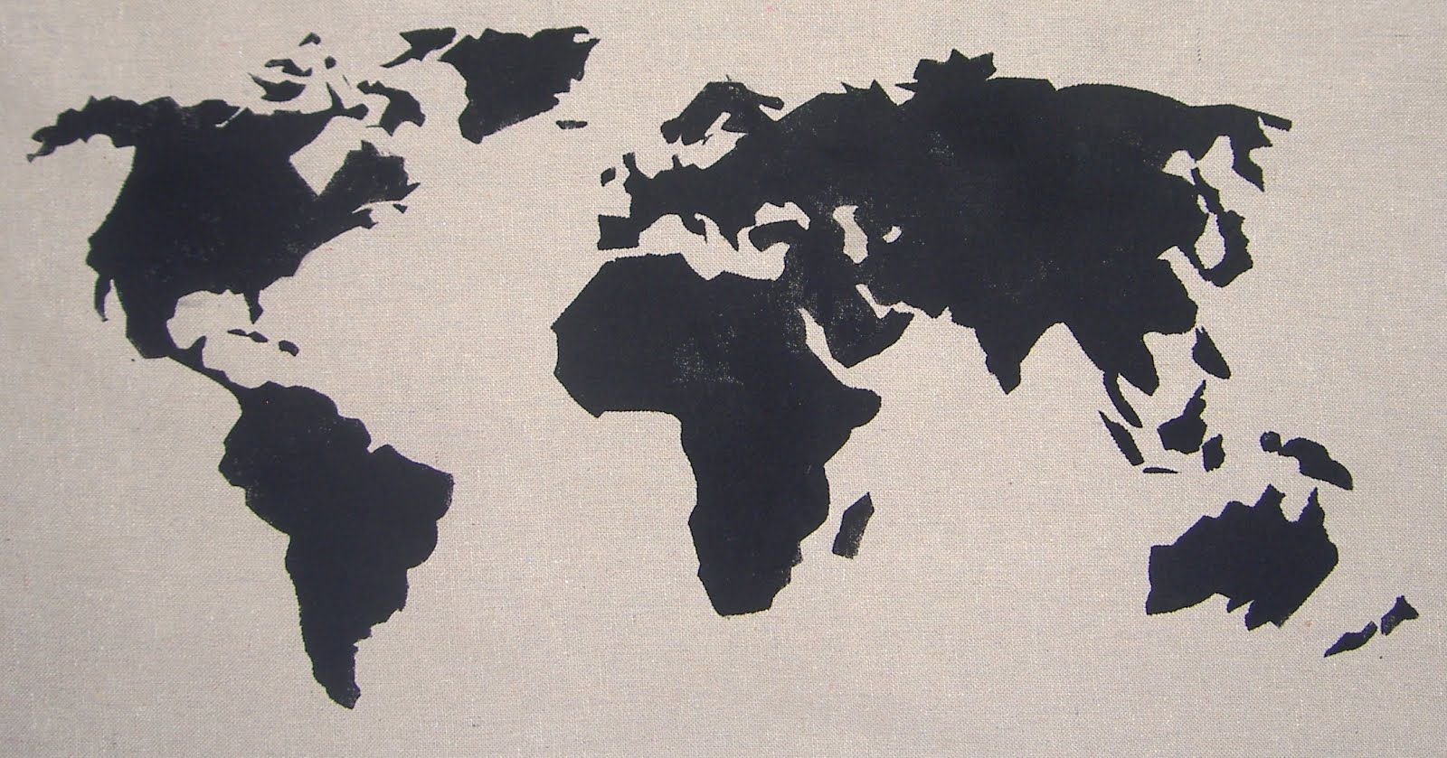 Map stencil google search stencils pinterest stenciling this pillow measures the pillow is made out of painters drop cloth material black piping is sewn onto the edges the world map is painted onto the the gumiabroncs Images