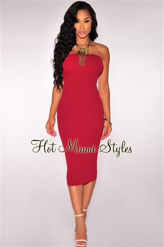 44e988cc8e9 Cranberry Knit Ribbed Strapless Dress. Lunch Date Outfit