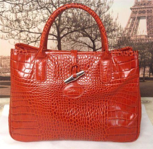 Auth $475 Longchamp Terracotta Roseau Croc Leather Tote Bag Purse ...