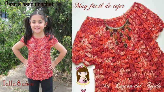 Mi Rincón Del Tejido Como Tejer Blusa Crochet Ganchillo Niña 8 Años How To Vestido De Niña Tejido A Ganchillo Ganchillo Niña Ropa Tejida Para Niña
