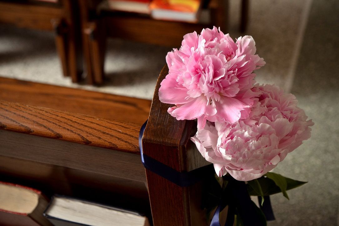These Pink Peony Flowers Decorate The Church Pews At