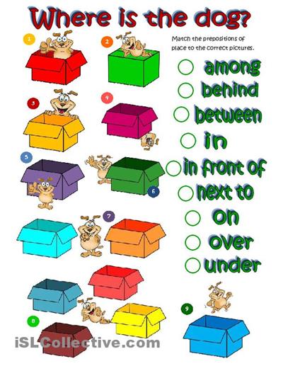 free esl worksheets worksheets where 39 s the dog prepositions of place. Black Bedroom Furniture Sets. Home Design Ideas