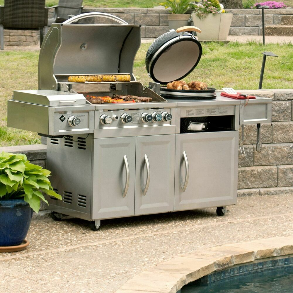 Stainless Steel Outdoor Gas Grill W Kamado Smoker Motorized Rotisserie Barbecue Stainlesssteel Gas Grill Grill Cover Combo Grills