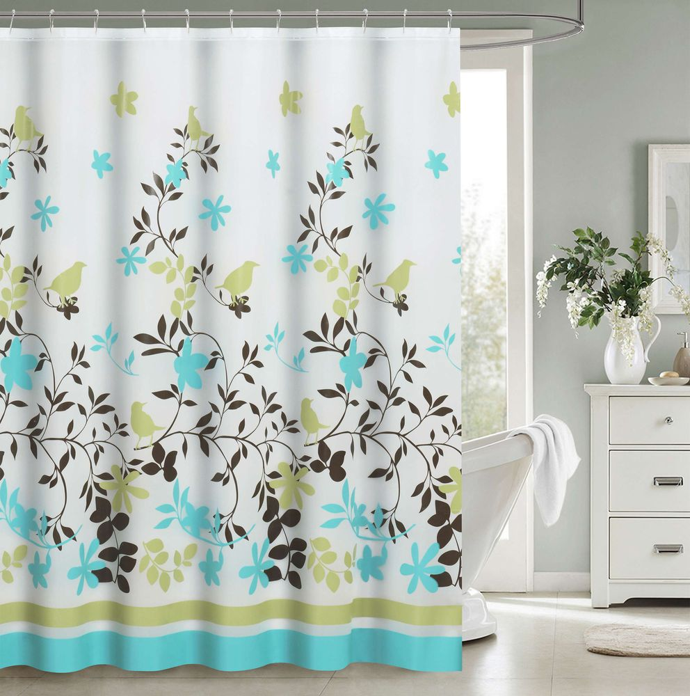Floral Jacquard Fabric Shower Curtain Set With 12 Hooks White